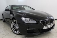 USED 2013 63 BMW 6 SERIES 3.0 640D M SPORT 2DR 309 BHP BMW SERVICE HISTORY + HEATED LEATHER SEATS + SAT NAVIGATION + PARKING SENSOR + CONNECTED DRIVE SERVICES + CONCIERGE SERVICES + BLUETOOTH + CRUISE CONTROL + MULTI FUNCTION WHEEL + RADIO/CD + 19 INCH ALLOY WHEELS