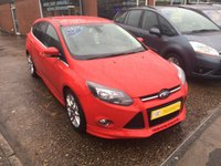 USED 2014 14 FORD FOCUS 1.0 ZETEC S S/S 5 DOOR 24 BHP IN BRIGHT RED WITH 38000 MILES. APPROVED CARS ARE PLEASED TO OFFER THIS FORD FOCUS 1.0 ZETEC S S/S 5 DOOR 24 BHP IN BRIGHT RED WITH 38000 MILES THIS STUNNING CAR IS IN GREAT CONDITION INSIDE AND OUT WITH A FULL FORD MAIN DEALER SERVICE HISTORY WITH 4 STAMPS AND ONLY 1 OWNER.
