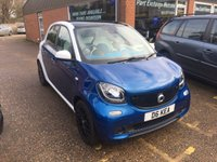 USED 2015 65 SMART FORFOUR 1.0 PROXY 5 DOOR 71 BHP IN BLUE AND WHITE WITH ONLY 17000 MILES APPROVED CARS ARE PLEASED TO OFFER THIS SMART FORFOUR 1.0 PROXY 5 DOOR 71 BHP IN BLUE AND WHITE WITH ONLY 17000 MILES IN IMMACULATE CONDITION WITH TWIN SUN ROOFS AND A GREAT LOOKING WHITE AND BLUE INTERIOR ALONG WITH A FULL MAIN DEALER SERVICE HISTORY.