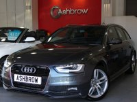 USED 2013 63 AUDI A4 AVANT 2.0 TDI QUATTRO S LINE 5d 177 S/S 1 OWNER FROM NEW, FULL AUDI SERVICE HISTORY, UPGRADE TECH PACK, UPGRADE HEATED FRONT SEATS, UPGRADE PARKING SYSTEM PLUS (FRONT + REAR PARKING SENSORS W/ DISPLAY), HDD NAV W/ JUKEBOX, AUDI MUSIC INTERFACE, ELECTRIC TAILGATE, BLUETOOTH W/ AUDIO STREAMING,BLACK 1/2 LEATHER SEATS, WLAN, CRUISE,18 IN TWIN 5 SPOKE ALLOYS, BI XENON HEADLIGHTS W/ LED DRL+LED OPTIC TAIL LIGHTS, ELECTRIC LUMBAR SUPPORT FRONT SEATS, DIGI SPEED DISPLAY IN DIS, SD READER X2, VOICE COMMAND, ELECTRIC HEATED DOOR MIRRORS, VAT Q