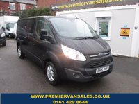 2015 FORD TRANSIT CUSTOM 2.2 290 LIMITED EDITION  LONG WHEEL BASE TURBO DIESEL 125 BHP PANTHER METALLIC BLACK  ALLOYS TOP OF THE RANGE F.S.H  REMAIN FORD DEALER  WARRANTY APRIL 2018  £11500.00