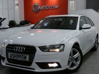 USED 2013 63 AUDI A4 AVANT 2.0 TDI SE TECHNIK 5d 136 S/S UPGRADE HEATED FRONT SEATS, UPGRADE BANG & OLUFSEN SOUND SYSTEM, HDD SAT NAV WITH JUKEBOX & DVD PLAYBACK (MMI NAVIGATION PLUS), FULL LEATHER INTERIOR, DAB RADIO, WIRELESS LAN CONNECTION (WLAN), BLUETOOTH MOBILE PHONE PREP WITH MUSIC STREAMING, AUDI MUSIC INTERFACE FOR IPOD / USB DEVICES (AMI), FRONT & REAR PARKING SENSORS WITH DISPLAY, ELECTRIC TAILGATE, LEATHER MULTIFUNCTION STEERING WHEEL, CRUISE CONTROL, LIGHT & RAIN SENSORS, 1 OWNER FROM NEW, FULL AUDI SERVICE HISTORY, £30 ROAD TAX