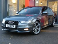 USED 2014 64 AUDI A4 AVANT 2.0 TDI S LINE BLACK EDITION 5d 150 S/S UPGRADE ELECTRIC HEATED FOLDING AUTO DIMMING DOOR MIRRORS, BANG & OLUFSEN SOUND SYSTEM, CRUISE CONTROL, DAB RADIO, AUDI MUSIC INTERFACE FOR IPOD/USB DEVICES (AMI), POWER TAILGATE, BLUETOOTH PHONE, REAR ACOUSTIC PARKING SENSORS, LED XENON LIGHTS, 19 INCH ROTOR WHEELS, LEATHER FLAT BOTTOM MULTI FUNCTION STEERING WHEEL, LIGHT & RAIN SENSORS, 1 OWNER FROM NEW, FULL AUDI SERVICE HISTORY