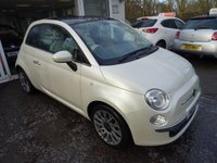 USED 2014 14 FIAT 500 1.2 LOUNGE 3d 69 BHP Extremely rare Pearlescent Cream/White finish with Full Brown Leather Interior. Low Mileage, MOT until November 2018 (no advisories), Just Serviced by ourselves, One Previous Owner. Great on fuel economy! Only £30 Road Tax!