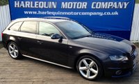 USED 2009 59 AUDI A4 2.0 AVANT TDI S LINE DPF 5d 168 BHP STUNNING EXAMPLE THIS 2009 AUDI A4 2.0 TURBO DIESEL ESTATE MANUAL IN METALLIC GREY FULL SERVICE HISTORY INC. CAM BELT 1/2 S-LINE LEATHER INTERIOR ALLOYS AIR CON S-LINE BODY STYLING