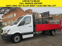 USED 2014 14 MERCEDES-BENZ SPRINTER 2.1 313CDI LWB DROPSIDE 14FT LONG TAIL-LIFT 129 BHP. NEW SHAPE 1 OWNER. LOW RATE FINANCE. PX WELCOME. WARRANTY. FSH