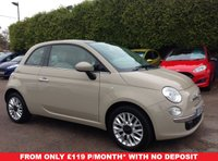 USED 2015 15 FIAT 500 1.2 LOUNGE 3d  1 LADY OWNER WITH PAN ROOF & ALLOYS NO DEPOSIT  PCP/HP FINANCE ARRANGED, APPLY HERE NOW