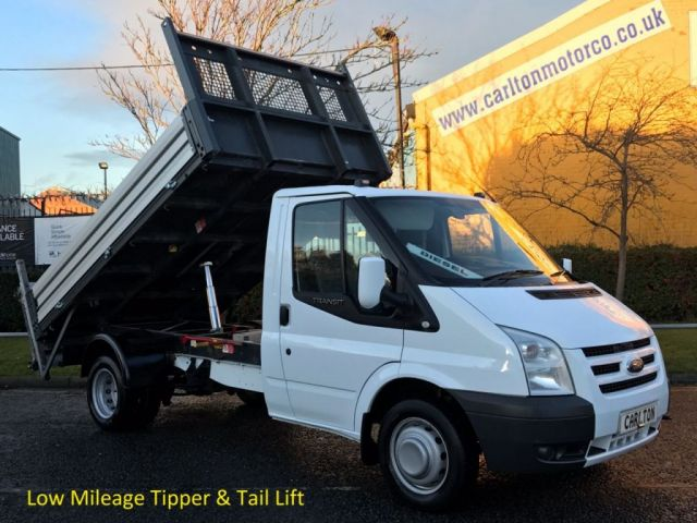 2012 61 FORD TRANSIT 115 T350 Mwb Tipper+Tail Lift Alloy Body Low Mileage Ex Lease Full History Free UK Delivery