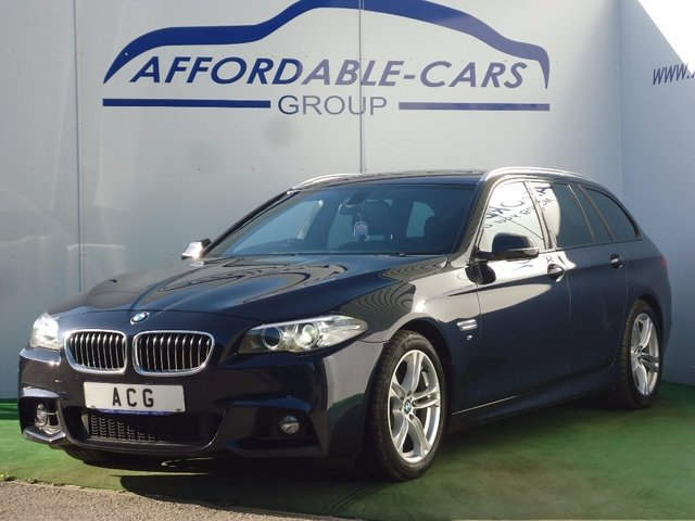 USED 2014 63 BMW 5 SERIES 2.0 520d M Sport Touring Auto 5dr FSH+SAT NAV+LEATHER+18' AW+DAB
