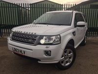 USED 2013 63 LAND ROVER FREELANDER 2 2.2 SD4 GS 5d AUTO 190 BHP FACELIFT LEATHER PRIVACY FSH NO FINANCE REPAYMENTS FOR 2 MONTHS STC. FACELIFT MODEL 4WD. STUNNING WHITE WITH FULL BLACK LEATHER TRIM. HEATED SEATS. CRUISE CONTROL. 17 INCH ALLOYS. COLOUR CODED TRIMS. PRIVACY GLASS. PARKING SENSORS. BLUETOOTH PREP. AIR CON. R/CD/MP3 PLAYER. MFSW. MOT 11/18. ONE PREV OWNER. FULL DEALER SERVICE HISTORY. FCA FINANCE APPROVED DEALER. TEL 01937 849492.