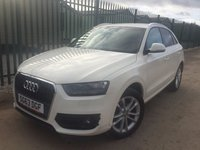 USED 2013 63 AUDI Q3 2.0 TDI SE 5d 138 BHP ALLOYS PRIVACY PDC ONE OWNER FSH NO FINANCE REPAYMENTS FOR 2 MONTHS STC. STUNNING WHITE WITH GREY CLOTH TRIM. 18 INCH ALLOYS. COLOUR CODED TRIMS. PRIVACY GLASS. PARKING SENSORS. BLUETOOTH PREP. AIR CON. MONITOR. R/CD PLAYER. 6 SPEED MANUAL. MFSW. MOT 09/18. ONE OWNER FROM NEW. FULL SERVICE HISTORY. FCA FINANCE APPROVED DEALER. 01937 849492