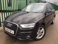 USED 2013 63 AUDI Q3 2.0 TDI QUATTRO S LINE 5d 174 BHP SAT NAV LEATHER PRIVACY ONE OWNER FSH 4WD. SATELLITE NAVIGATION. STUNNING BLACK MET WITH FULL BLACK LEATHER S LINE TRIM. HEATED SEATS. 18 INCH ALLOYS. COLOUR CODED TRIMS. PRIVACY GLASS. PARKING SENSORS. BLUETOOTH PREP. MULTI MEDIA SCREEN. CLIMATE CONTROL. TRIP COMPUTER. R/CD/MP3 PLAYER. 6 SPEED MANUAL. MFSW. MOT 09/18. ONE OWNER FROM NEW. FULL SERVICE HISTORY. FCA FINANCE APPROVED DEALER. TEL 01937 849492.
