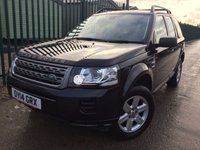 USED 2014 14 LAND ROVER FREELANDER 2 2.2 TD4 GS 5d AUTO 150 BHP FACELIFT LEATHER PDC FSH NO FINANCE REPAYMENTS FOR 2 MONTHS STC. FACELIFT MODEL 4WD. STUNNING BLACK MET WITH FULL BLACK LEATHER TRIM. HEATED SEATS. CRUISE CONTROL. 17 INCH ALLOYS. COLOUR CODED TRIMS. PARKING SENSORS. BLUETOOTH PREP. AIR CON. R/CD/MP3 PLAYER. MFSW. TOWBAR. MOT 11/18. ONE PREV OWNER. FULL DEALER SERVICE HISTORY. FCA FINANCE APPROVED DEALER. TEL 01937 849492.