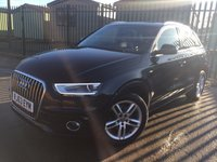 USED 2013 63 AUDI Q3 2.0 TDI S LINE 5d 174 BHP PAN ROOF SAT NAV LEATHER ONE OWNER FSH NO FINANCE REPAYMENTS FOR 2 MONTHS STC. PANORAMIC SUNROOF. SATELLITE NAVIGATION. STUNNING BLACK MET WITH FULL BLACK LEATHER S-LINE TRIM. HEATED SEATS. 18 INCH ALLOYS. COLOUR CODED TRIMS. PARKING SENSORS. BLUETOOTH PREP. MULTI MEDIA SCREEN. CLIMATE CONTROL. TRIP COMPUTER. R/CD/MP3 PLAYER. 6 SPEED MANUAL. MFSW. MOT 11/18. ONE OWNER FROM NEW. FULL DEALER SERVICE HISTORY. FCA FINANCE APPROVED DEALER. TEL 01937 849492.