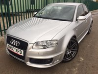 USED 2007 57 AUDI A4 4.2 RS4 QUATTRO 4d 420 BHP 4WD SAT NAV LEATHER MOT 10/18 QUATTRO 4WD. BODYKIT. SATELLITE NAVIGATION. STUNNING SILVER MET WITH BLACK LEATHER TRIM. FRONT RS4 BUCKET SEATS HEATED. CRUISE CONTROL. 19 INCH GREY TWIN SPOKE ALLOYS. COLOUR CODED TRIMS. PRIVACY GLASS. PARKING SENSORS. CLIMATE CONTROL. CARBON FIBRE INTERIOR TRIM. BOSE SOUND SYSTEM. R/CD CHANGER. 6 SPEED MANUAL. MFSW. MOT 10/18. SERVICE HISTORY. TEL 01937 849492