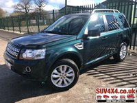 USED 2013 63 LAND ROVER FREELANDER 2 2.2 SD4 HSE 5d AUTO 190 BHP FACELIFT PAN ROOF SAT NAV LEATHER FSH 4WD. FACELIFT. SATELLITE NAVIGATION. PANORAMIC SUNROOF. STUNNING GREEN MET WITH FULL CREAM LEATHER TRIM. ELECTRIC MEMORY HEATED SEATS. CRUISE CONTROL. 18 INCH ALLOYS. COLOUR CODED TRIMS. PRIVACY GLASS. PARKING SENSORS. BLUETOOTH PREP. CLIMATE CONTROL. TRIP COMPUTER. R/CD/MP3 PLAYER. MFSW. TOWBAR. MOT 11/19. FULL SERVICE HISTORY. SUV & 4X4 CAR CENTRE LS23 7FR. TEL 01937 849492 OPTION 2
