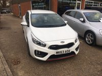 USED 2013 63 KIA CEED 1.6 PRO CEED GT TECH 3 DOOR 201 BHP IN WHITE IN STUNNING CONDITION. APPROVED CARS ARE PLEASED TO OFFER THIS KIA CEED 1.6 PRO CEED GT TECH 3 DOOR 201 BHP IN WHITE IN STUNNING CONDITION INSIDE AND OUT WITH A FULL SERVICE HISTORY SERVICED AT29K,40K AND 49K.