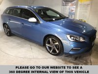 USED 2014 64 VOLVO V60 2.0 D4 R-DESIGN LUX NAV 5d 178 BHP Only £20 a year road tax,  Full service history,  R-Design contrasting leather upholstery,   R-Design steering wheel,   Bluetooth,     Satellite Navigation system,     Rear parking sensors