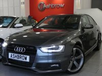 USED 2013 63 AUDI A4 2.0 TDI S LINE BLACK EDITION 4d 177 S/S UPGRADE TECHNOLOGY PACK INCLUDING MMI NAVIGATION PLUS DVD PLAYER AUDI MUSIC INTERFACE RADIO SYSTEM FOR NAV PLUS & VOICE DIALOGUE SYSTEM, UPGRADE ELECTRIC HEATED FOLDING AUTO DIMMING DOOR MIRRORS, BANG & OLUFSEN SOUND SYSTEM, CRUISE CONTROL, DAB RADIO, BLUETOOTH PHONE & MUSIC STREAMING, FRONT & REAR PARKING SENSORS WITH DISPLAY, LED XENON LIGHTS, 1 OWNER FROM NEW, FULL SERVICE HISTORY, £30 ROAD TAX