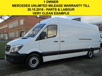 USED 2015 65 MERCEDES-BENZ SPRINTER 2.1 313CDI LWB HIGH ROOF 129 BHP. NEW SHAPE. 1 OWNER. PX MERCEDES WARRANTY 10/2018. LOW RATE FINANCE. PX WELCOME
