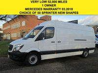 USED 2015 15 MERCEDES-BENZ SPRINTER 2.1 313CDI LWB HIGH ROOF 129 BHP. NEW SHAPE. 1 OWNER. PX ONLY 52,000 MILES. FSH. 1 OWNER. FINANCE. PX WELCOME.