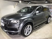 USED 2014 63 AUDI Q7 3.0 TDI QUATTRO S LINE PLUS 5d AUTO 245 BHP Family 7-seater,           Full service history,           Full leather upholstery,           Heated/Electric front seats,          Heated steering wheel,     Bluetooth,       Satellite Navigation system,       BOSE sound system,      Remotely operated tailgate,      Reversing camera and sensors
