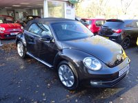 USED 2015 65 VOLKSWAGEN BEETLE 1.2 DESIGN TSI BLUEMOTION TECHNOLOGY DSG 3d AUTOMATIC 104 BHP CONVERTIBLE Very Low Mileage, Full Volkswagen Service History, MOT until December 2018, One Owner from new, Automatic, Convertible. Balance of Volkswagen Warranty until December 2018