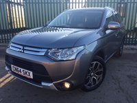USED 2014 64 MITSUBISHI OUTLANDER 2.3 DI-D GX 3 5d 147 BHP 7 SEATER LEATHER PRIVACY ONE OWNER NO FINANCE REPAYMENTS FOR 2 MONTHS STC. 4WD. 7 SEATER. STUNNING GREY MET WITH FULL BLACK LEATHER TRIM. CRUISE CONTROL. 18 INCH ALLOYS. COLOUR CODED TRIMS. PRIVACY GLASS. PARKING SENSORS. BLUETOOTH PREP. AIR CON. R/CD PLAYER. 6 SPEED MANUAL. MFSW. MOT 09/18. ONE OWNER FROM NEW. SERVICE HISTORY. FCA FINANCE APPROVED DEALER. TEL 01937 849492