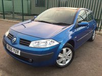 USED 2005 05 RENAULT MEGANE 1.6 SL OASIS 16V 5d 115 BHP SUNROOF AIR CON MOT 11/18 PANORAMIC SUNROOF. BLUE MET WITH BLACK CLOTH TRIM. AIR CON. R/CD PLAYER. MOT 11/18. AGE/MILEAGE RELATED SALE. TEL 01937 849492