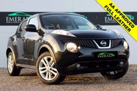 """USED 2011 61 NISSAN JUKE 1.6 TEKNA 5d 117 BHP **£0 DEPOSIT FINANCE AVAILABLE**SECURE WITH A £99 FULLY REFUNDABLE DEPOSIT** SATELLITE NAVIGATION, BLUETOOTH CONNECTION, CRUISE CONTROL, REVERSE CAMERA, FULL BLACK LEATHER UPHOLSTERY, HEATED FRONT SEATS, AIR CONDITIONING, CLIMATE CONTROL, AUX/USB INPUT, PRIVACY GLASS, 17"""" ALLOYS"""