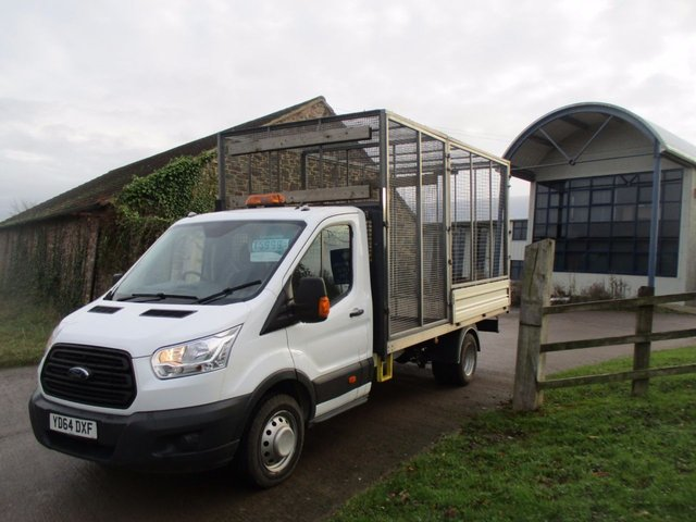 2014 64 FORD TRANSIT 2.2 T350 NEW SHAPE DRW EX FRAME DROPSIDE WITH REFUGE CAGE SPLIT COMPARTMETS 125 BHP