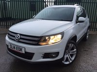 USED 2014 14 VOLKSWAGEN TIGUAN 2.0 MATCH TDI BLUEMOTION TECHNOLOGY 4MOTION 5d 139 BHP SAT NAV LEATHER 19 ALLOYS NO FINANCE REPAYMENTS FOR 2 MONTHS STC. 4WD FACELIFT MODEL. SATELLITE NAVIGATION. STUNNING WHITE WITH FULL BLACK LEATHER TRIM. ELECTRIC HEATED SEATS. CRUISE CONTROL. 19 INCH ALLOYS. COLOUR CODED TRIMS. PRIVACY GLASS. PARKING SENSORS. BLUETOOTH PREP. MULTIMEDIA SCREEN. CLIMATE CONTROL. TRIP COMPUTER. R/CD/MP3 PLAYER. 6 SPEED MANUAL. MFSW. MOT 12/18. ONE PREV OWNER. FULL SERVICE HISTORY. FCA FINANCE APPROVED DEALER. TEL: 01937 849492.