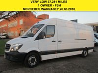 USED 2015 15 MERCEDES-BENZ SPRINTER 2.1 313CDI LWB HIGH ROOF 129BHP NEW SHAPE. LOW 37,281 MILES MERC WARRANTY 06.2018. FSH. FINANCE. PX WELCOME