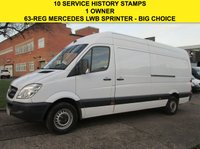 USED 2013 63 MERCEDES-BENZ SPRINTER 2.1 313CDI LWB HIGH ROOF 129BHP. 1 OWNER. BIG SPEC. PX WELCOME 10 SERVICES. FINANCE. WARRANTY. PX WELCOME