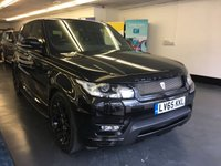 "USED 2015 65 LAND ROVER RANGE ROVER SPORT 3.0 SDV6 HSE DYNAMIC 5d AUTO 306 BHP 1 OWNER, FULLY LOADED, 22"" ALLOYS, PANORAMIC ROOF, BLACK WITH FULL BLACK LEATHER,"