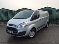 USED 2014 64 FORD TRANSIT CUSTOM 2.2 290 TREND LR P/V 1d 124 BHP BULKHEAD ONE OWNER FSH NO FINANCE REPAYMENTS FOR 2 MONTHS STC. (COMMERCIAL £9900+1980VAT). BULKHEAD. CARGO LINING. N/S LOADING DOOR. CRUISE CONTROL. 3 SEATER. AIR CON. COLOUR CODED TRIMS. PARKING SENSORS. BLUETOOTH PREP. R/CD PLAYER. MFSW. MOT 11/18. ONE OWNER FROM NEW. FULL SERVICE HISTORY. FCA FINANCE APPROVED DEALER. TEL 01937 849492.
