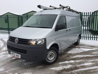 USED 2012 62 VOLKSWAGEN TRANSPORTER 2.0 T30 TDI 1d 102 BHP SAT NAV AIR CON LWB LADDER RACK ONE OWNER FSH NO FINANCE REPAYMENTS FOR 2 MONTHS STC. COMMERCIAL (£10400+2080VAT). SATELLITE NAVIGATION. STUNNING SILVER MET WITH GREY LEATHER TRIM. BULKHEAD. AIR CON. N/S LOADING DOOR. 3 SEATER. PARKING SENSORS. LADDER RACK. ROOF BARS. PIPE TUBE. POWER INVERTER. STORAGE UNITS. BLUETOOTH PREP. MONITOR. R/CD PLAYER. PAS. EW. MFSW. MOT 10/18. ONE OWNER FROM NEW. FULL SERVICE HISTORY. TEL 01937 849492