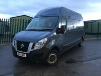 USED 2014 64 NISSAN NV400 2.3 DCI SE EHR P/V 1d 125 BHP HIGH ROOF BULKHEAD ONE OWNER FSH NO FINANCE REPAYMENTS FOR 2 MONTHS STC. COMMERCIAL (£10900+2180VAT). HIGH ROOF. STUNNING BLUE MET WITH GREY CLOTH TRIM. BULKHEAD. N/S LOADING DOOR. 3 SEATER. CRUISE CONTROL. AIR CON. PARKING SENSORS. R/CD PLAYER. 6 SPEED MANUAL. PAS. EW. MFSW. MOT 10/18. ONE OWNER FROM NEW. FULL SERVICE HISTORY. TEL 01937 849492