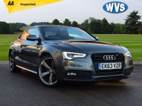 USED 2013 63 AUDI A5 2.0 TDI S LINE BLACK EDITION 2d 177 BHP Massive spec includes TECHNOLOGY PACK, ELECTRIC TILT PANORAMIC GLASS ROOF WITH AN ELECTRIC BLIND AND AUDI EXCLUSIVE SPORTS SEATS IN TWO TONE (GREY/CHARCOAL) FINE NAPPA LEATHER. WITH AUDI SERVICE HISTORY AND 2 KEYS.