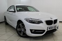 USED 2015 64 BMW 2 SERIES 2.0 220D SPORT 2DR 188 BHP BMW SERVICE HISTORY + BMW SERVICE PLAN UP TO 2020 OR 50,000 MILES + REVERSE CAMERA + CRUISE CONTROL + MULTI FUNCTION WHEEL + AIR CONDITIONING + 17 INCH ALLOY WHEELS