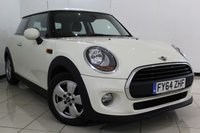 USED 2014 64 MINI HATCH ONE 1.2 ONE 3DR 101 BHP SERVICE HISTORY + BLUETOOTH + DAB RADIO + AUXILIARY PORT + 15 INCH ALLOY WHEELS