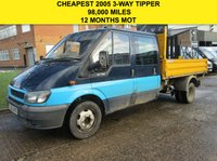 USED 2005 55 FORD TRANSIT 2.4TDCI T350L DOUBLE CAB 3 WAY TIPPER. FULL MOT. 98K CHEAP TIPPER. 6 SEATS. PX TO CLEAR. BARGAIN.