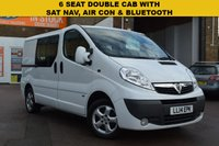 USED 2014 14 VAUXHALL VIVARO 2.0 2900 CDTI SPORTIVE DCB 1d 113 BHP This is a well cared for 2014 Vx Vivaro SWB 2.0cdti 115 2.9T Sportive 6 SEAT DOUBLE CAB VAN in white with factory SAT NAV, AIR CON, PRIVACY GLASS, REMOTE LOCKING, ELECTRIC WINDOWS AND ALLOY WHEELS.