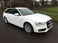 USED 2013 62 AUDI A4 2.0 AVANT TDI S LINE 5d 174 BHP 1 OWNER S LINE WITH FULL AUDI SERVICE HISTORY AUTOMATIC IN WHITE