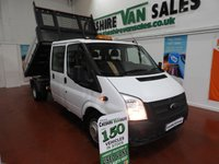2014 FORD TRANSIT 2.2 350 DRW TIPPER 125 BHP LOW MILES FSH TWIN WHEEL CREW CAB £10995.00