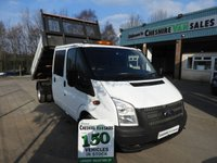 2014 FORD TRANSIT 2.2 350 L3  DRW 125 BHP TWIN WHEEL TIPPER REAR STORAGE CHOICE £10995.00