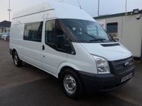 USED 2013 63 FORD TRANSIT 2.2 T350 LBW HI ROOF 9 SEATER CREW CAB, 124 BHP, 1 COMPANY