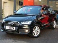 USED 2014 14 AUDI Q3 2.0 TDI SE 5d 140 S/S UPGRADE FULL PAINT FINISH (FULLY COLOUR CODED EXTERIOR), BLUETOOTH PHONE & MUSIC STREAMING, REAR ACOUSTIC PARKING SENSORS, AUDI MUSIC INTERFACE FOR IPOD / USB DEVICES (AMI), 17 INCH 10 SPOKE ALLOYS, ALUMINIUM ROOF RAILS, LEATHER MULTIFUNCTION STEERING WHEEL, LIGHT & RAIN SENSORS, DUAL CLIMATE AIR CON, TYRE PRESSURE MONITORING SYSTEM.  1 OWNER FROM NEW, FULL SERVICE HISTORY