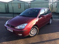 USED 2002 52 FORD FOCUS 1.6 PETROL 5DR AIR CON MOT 05/18 RED MET WITH GREY CLOTH TRIM. COLOUR CODED TRIMS. AIR CON. R/CD PLAYER. MFSW. MOT 05/18. AGE/MILEAGE RELATED SALE. TEL 01937 849492