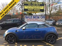USED 2015 15 MINI COUPE 1.6 COOPER 2d 120 BHP METALLIC BLUE, SILVER ROOF MIRROR CAPS, HALF BLACK LEATHER INTERIOR, AIR CON, CRUISE CONTROL, CD BOOST, REAR SENSORS, BLUETOOTH, 17 INCH GLOSS BLACK ALLOYS, LOCAL LADY OWNER, LOW MILES,  MINI SERVICE HISTORY